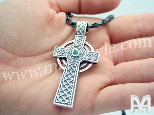 Custom Made Sterling Silver Irish Cross Celtic Gaelic Pendant