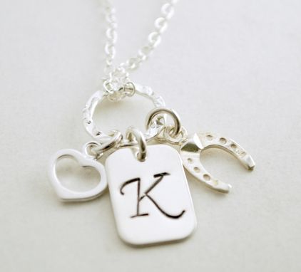 Custom Made Horseshoe Cowgirl Necklace Personalized Initial Necklace Hand Stamped Sterling Silver