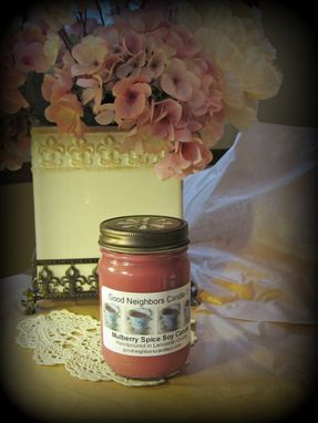 Custom Made Soy Candle, Mulberry Spice, 12 Ounce Jelly Jar, You Choose Hemp, Cotton Or Wood Wick