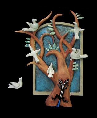 Custom Made Tree Mother With Skink And Doves In Stoneware