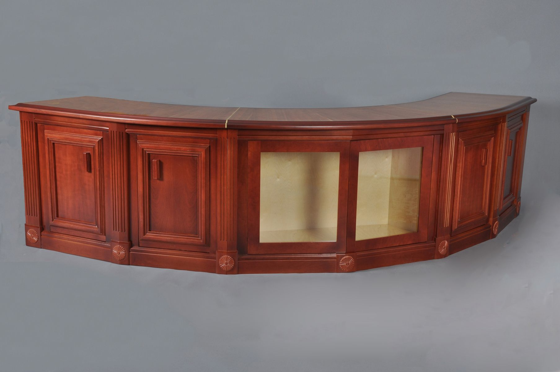 Custom curved cherry sofa table by hm woodworks for Curved sofa table for sectional