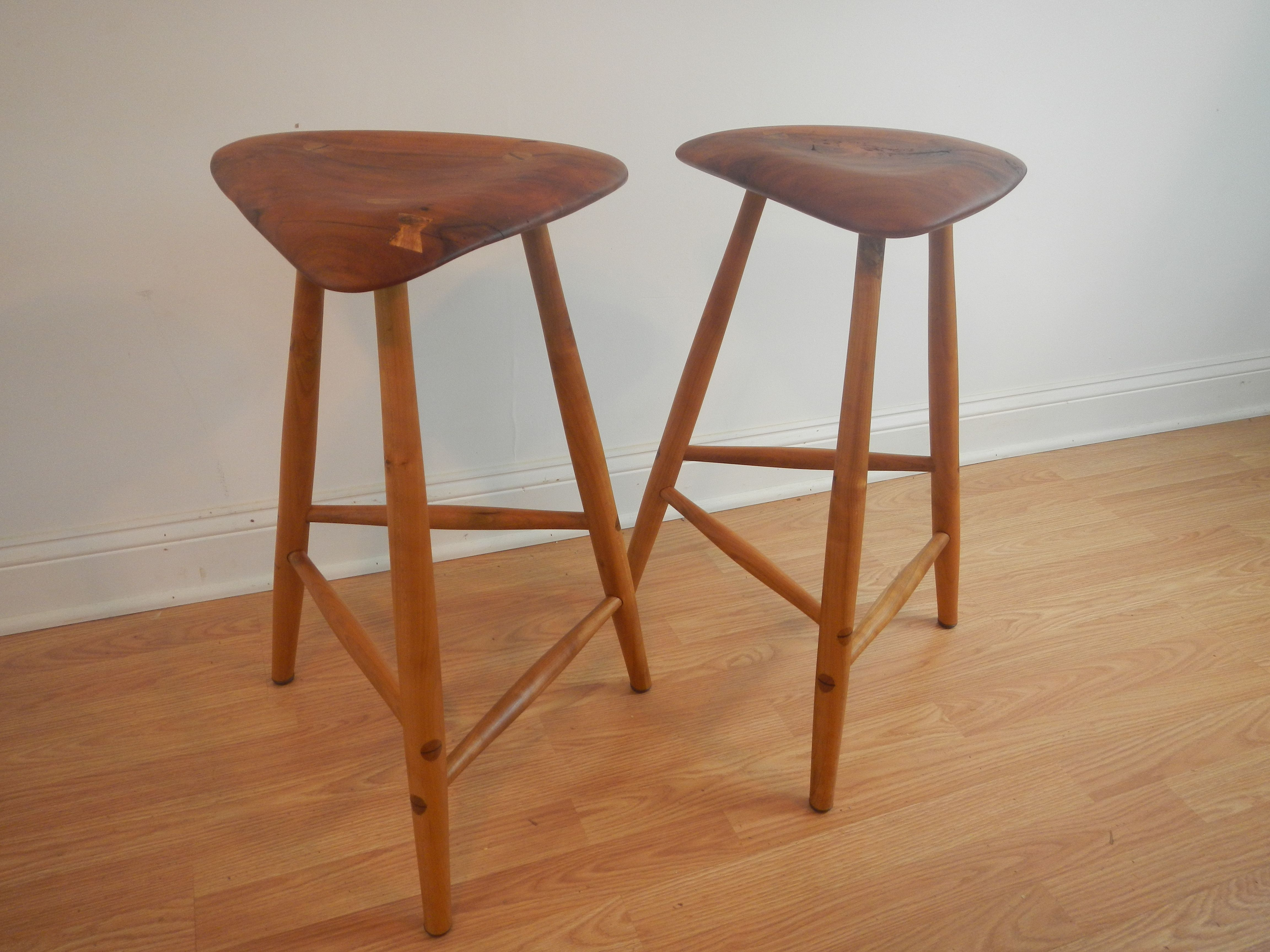 Custom made wharton esherick style wood counter stools