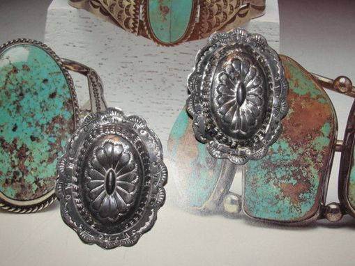 Custom Made Native American Inspired Large Sterling Silver Concho Earrings With Navajo Or Zuni Inspired Stamping