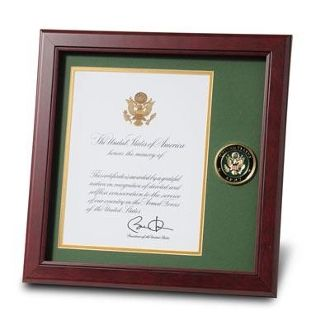 Custom Made U.S. Army Medallion Presidential Memorial Certificate Frame