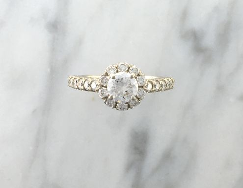 Custom Made Ready To Ship Bridal Set Gia Certified .61ct Diamond - Halo Engagement Ring - White Gold