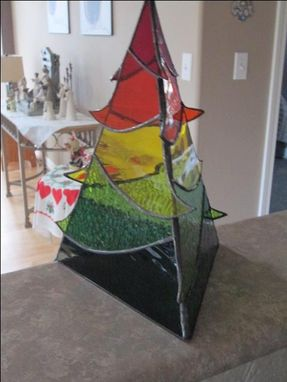 Custom Made Decorative Autumn Colored Stained Glass Tree