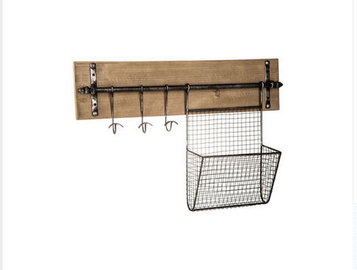 Custom Made Wall Organizer With Basket & Hooks
