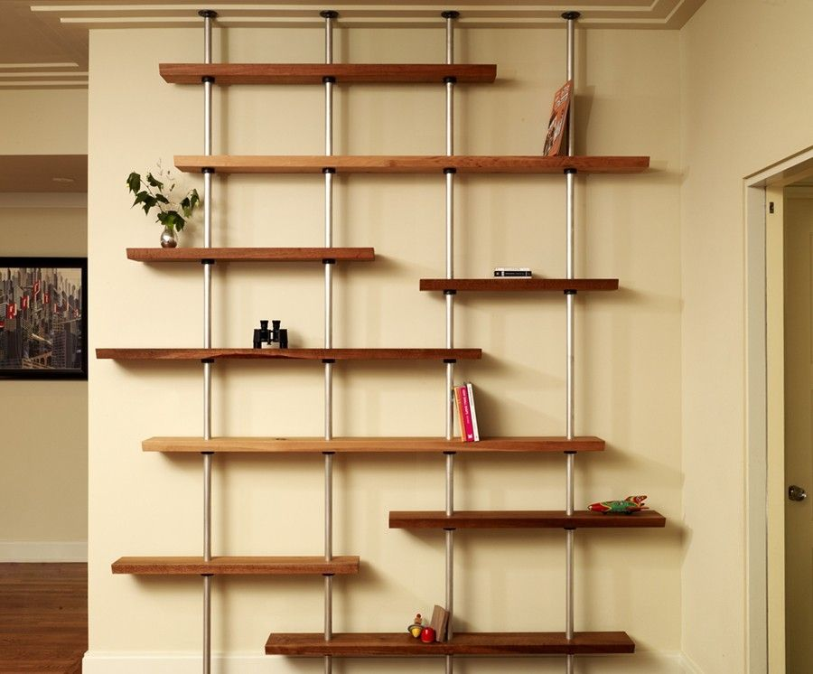 Custom Oak And Aluminum Adjustable Shelving Unit by Anand Gowda ...