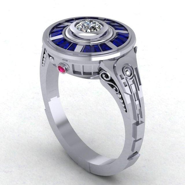 r2d2 impressions in 14 karat white gold engagement wedding ring - Superman Wedding Rings