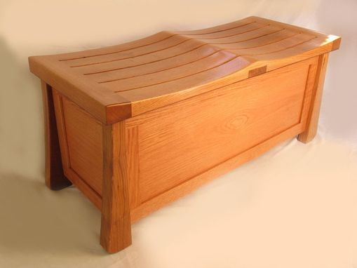 Custom Made Venice Chest, Solid Oak Trunk, Large Bench Made With Recycled Wood From Wine Fermentation Barrels