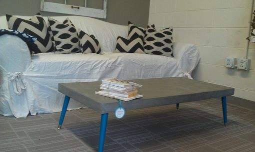 Custom Made Low Modern Concrete-Coated Coffee Table
