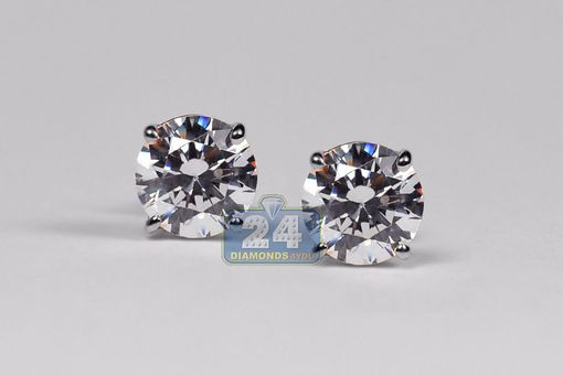 Custom Made 14k White Gold 2.00 Ct Swarovski Crystal Stud Earrings