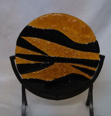 Custom Made Black And Amber Art Piece In A Stand