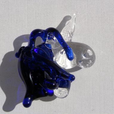 Custom Made Glass Unicorn Pendant Bead Lampwork Equine Mustang Hand Blown Clear And Blue