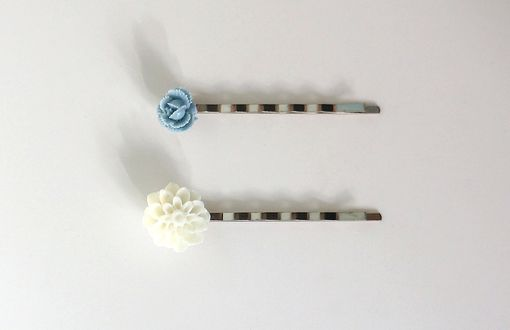 Custom Made Hairpins With Blue Flower Cabochon