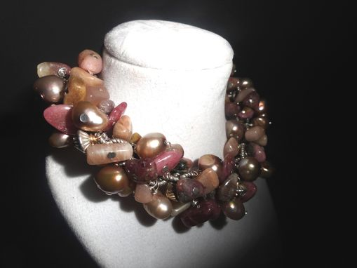 Custom Made Red Tourmaline Chip Pink Potato Pearl Bracelet
