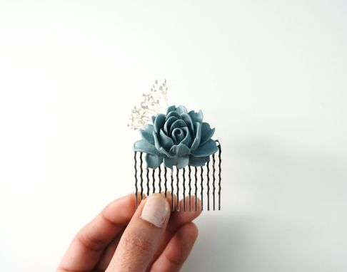 Custom Made Vintage-Inspired Flower Girl Hair Comb With Blue Peony Cabochon