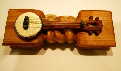 Custom Made Wood Bow Tie Featuring A Banjo Ukulele