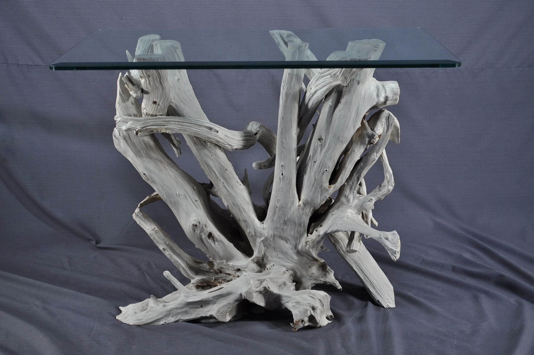 Hand Made Sun Bleached Driftwood And Glass Foyer Table By