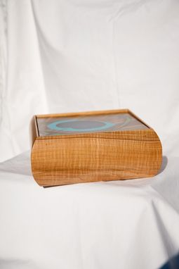 Custom Made Keepsake Box With Peacock Feather Marquetry Turquoise Inlay