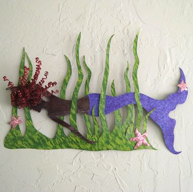 Custom Made Handmade Upcycled Metal Mermaid Swimmer Wall Art Sculpture
