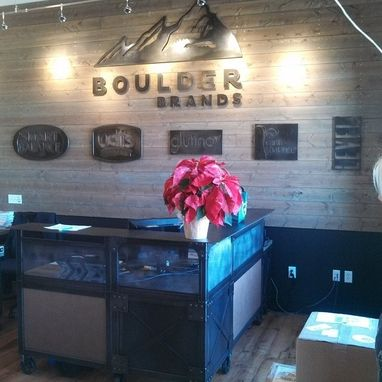 Custom Made Reclaimed Wood And Steel Custom Cafe Booths & Reception Desks For Boulder Brands