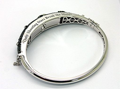 Custom Made White And Black Diamond 14k Bangle With Ash Holder Capsule