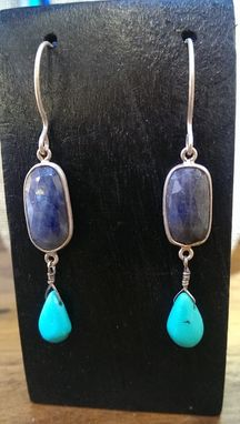 Custom Made Sterling Silver Natural Sapphire And Turquoise Drop Earrings