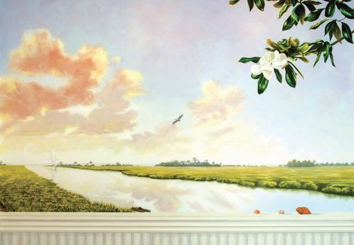Custom Made Coastal Tidewater Mural On Canvas By Visionary Mural Co.