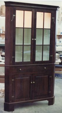Custom Made Walnut Corner Cupboard W/ Glass Doors