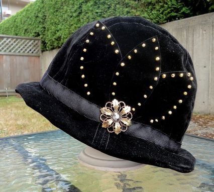 Custom Made Cloche Hat Black Velvet Gold Beading Or Large Felt Flower