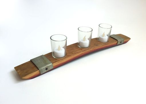 Custom Made Candle Holder Made From French Wine Barrel With Metal Rings & Votive Glasses, 20