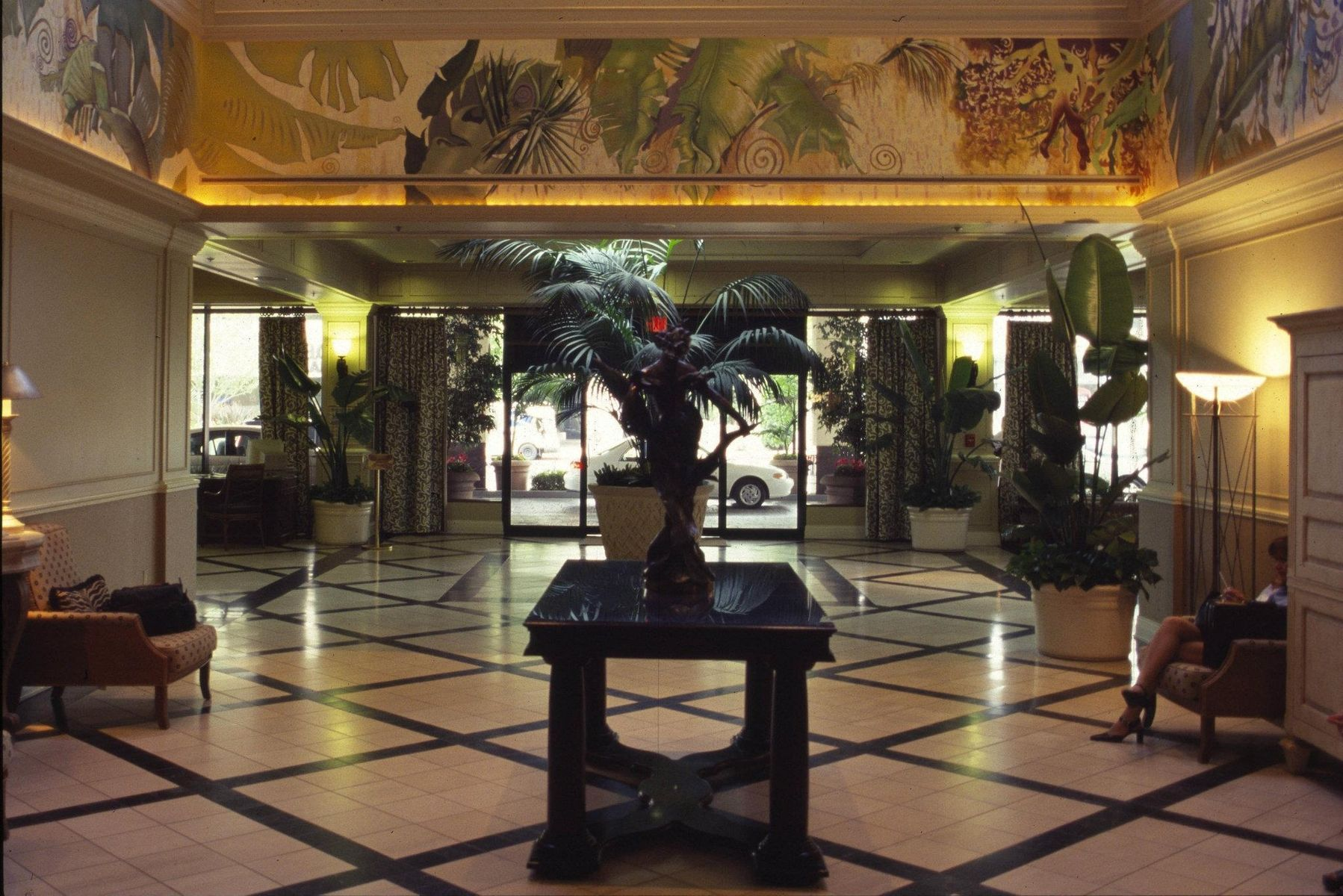 Handmade tropical art deco hotel lobby murals by mark for A for art design hotel