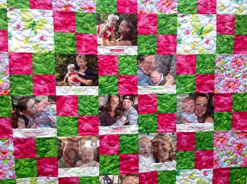 Custom Made Custom Personalized Watercolor Photo Memory Quilt With Embroidered Names