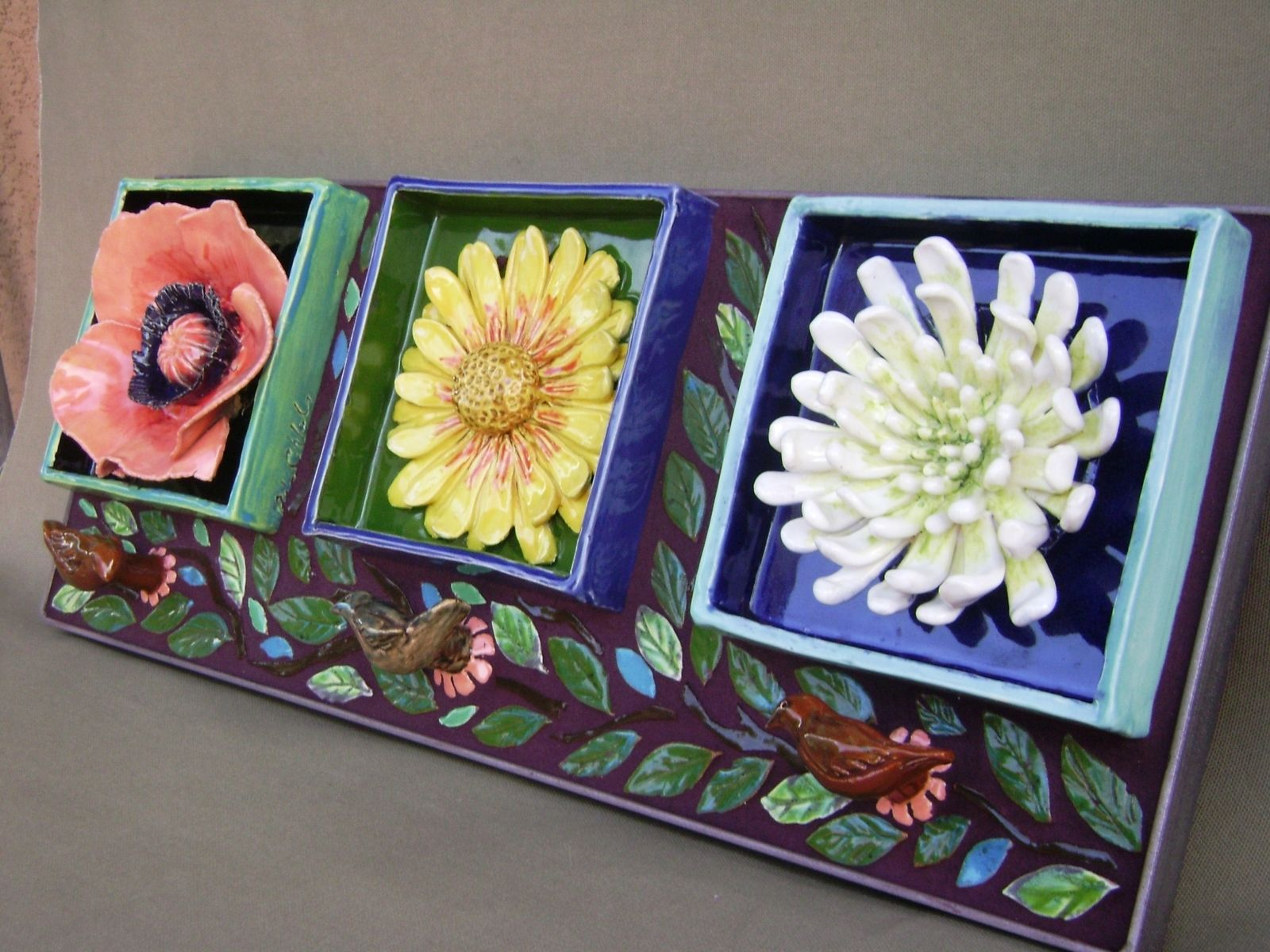 Custom Made Flower Mosaic Ceramic Wall Hanging