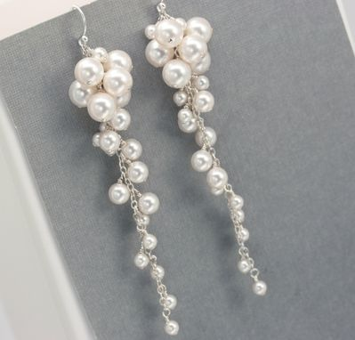 Custom Made Long Pearl Cluster Earrings