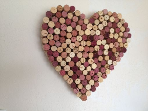 Custom Made Valentine's Decor: Wine Cork Heart Wreath - Solid