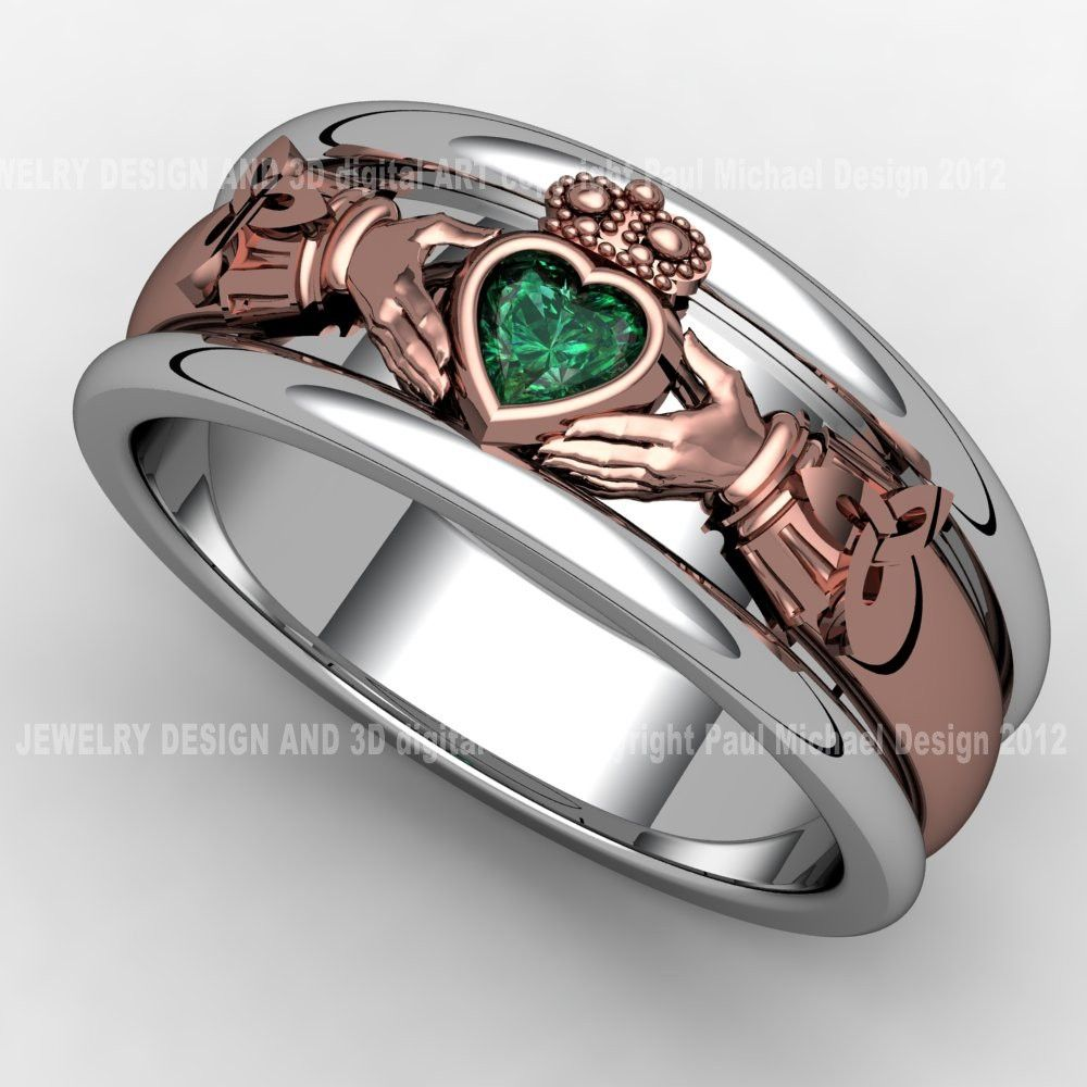 set stone band heavy claddagh mens emerald bands