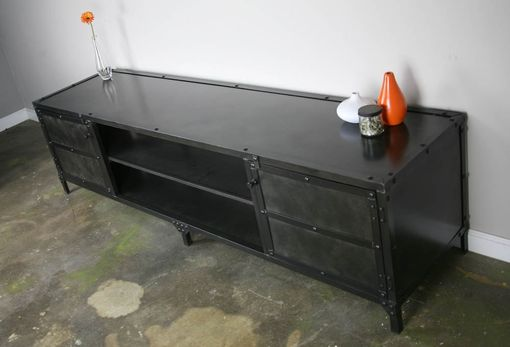 Custom Made Vintage Industrial Media Console, Tv Stand, Credenza, Custom Sizes, Urban, Metal Sideboard, Hutch