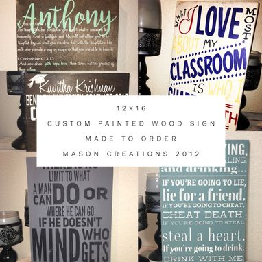 Custom Made 12x16 Custom, Hand Painted, Made To Order Wood Sign