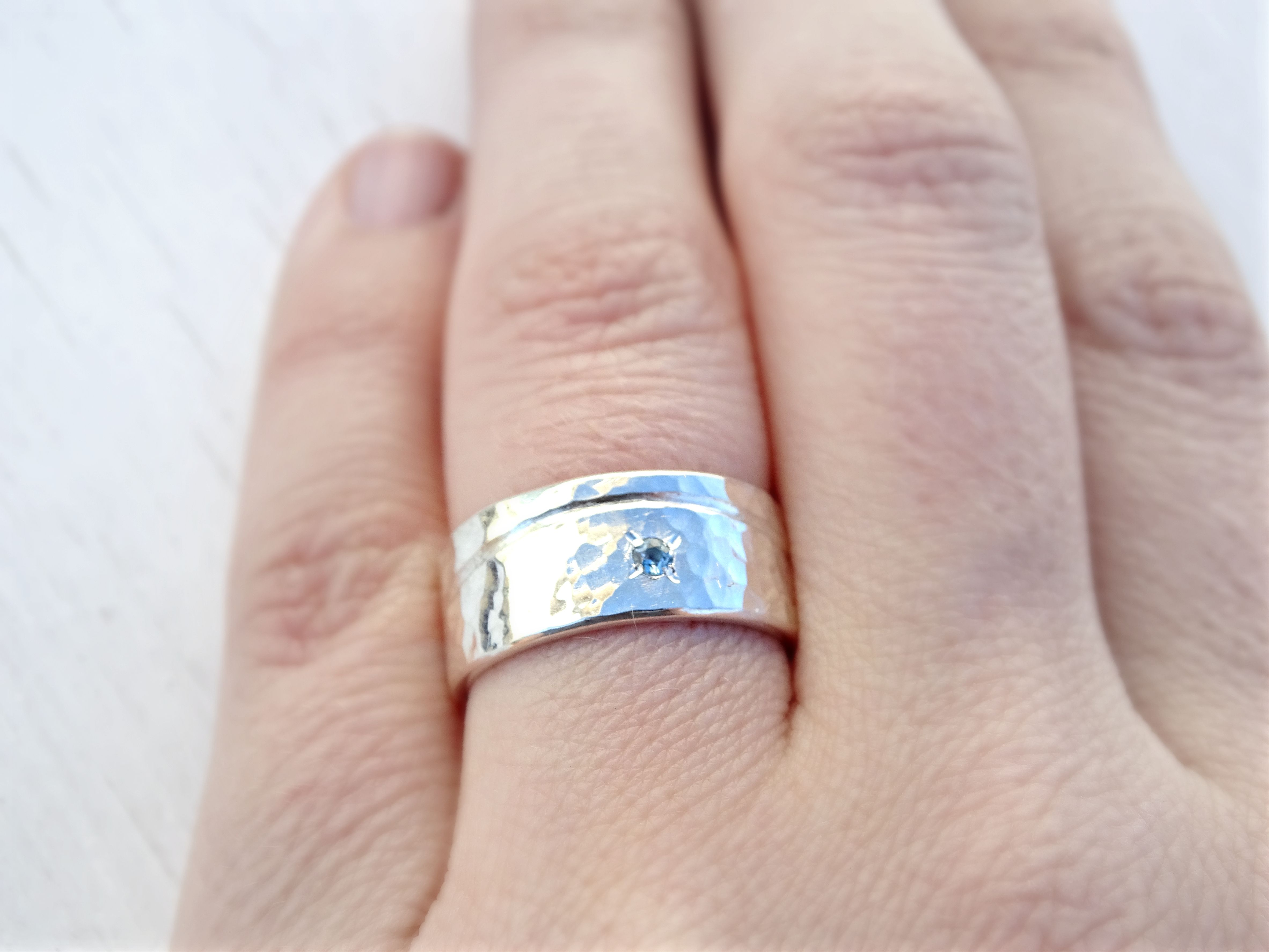 Buy a Hand Crafted Beach Wedding Ring Silver, Wave Silver Ring Boho ...