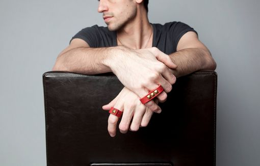 Custom Made Spike Ring In Red With Eco Friendly Leather Band