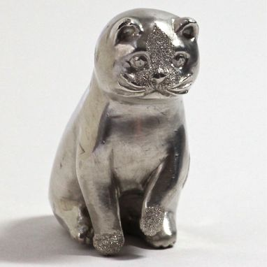 Custom Made Full Figure Fine Silver Cat Sculpture