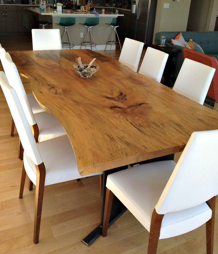 Hand made bookmatched live edge sycamore dining table by for Table bois brut