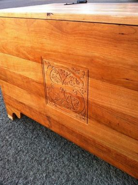 Custom Made Hope Chest With Hand Carved Initial In Cherry.