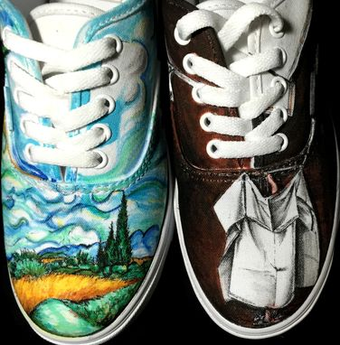 Custom Made Van Gogh And Michelangelo Hand Drawn Shoes!