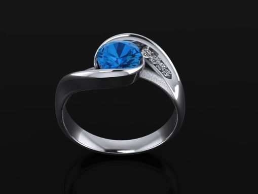 Custom Made Kachemak Diamond Top Blue Topaz Gold Ring