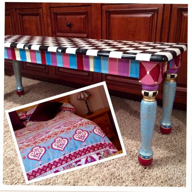 Custom Made Painted Bench//Whimsical Painted Bench//Alice In Wonderland Custom Whimsical Painted Furniture