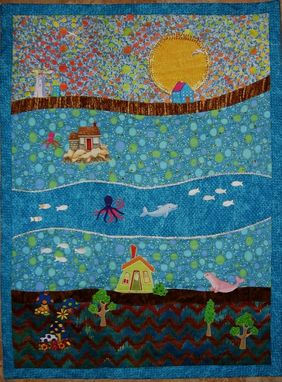 "Custom Made Quilted Landscape Wall Hanging - ""Summer In Maine"""