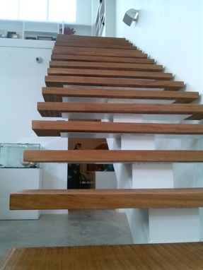 Custom Made Metal Staircase With Solid Hardwood Steps And Handrails